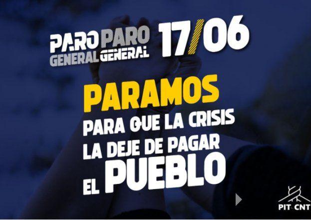 Afiche del PIT-CNT sobre el paro del día 17