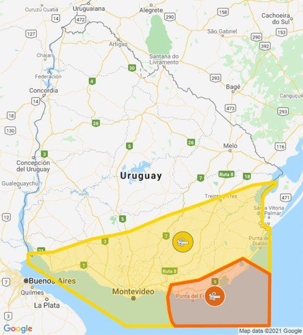 Doble alerta naranja y amarilla por vientos fuertes para Sur y Este