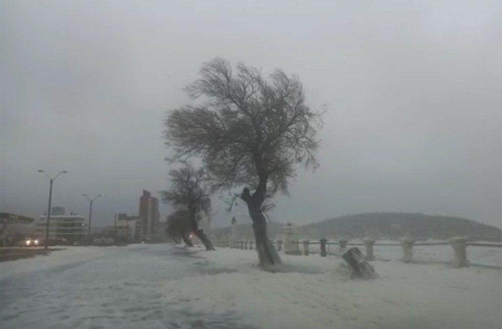 Espuma, lluvia, viento y mucho frío, así estaba la rambla de Piriápolis