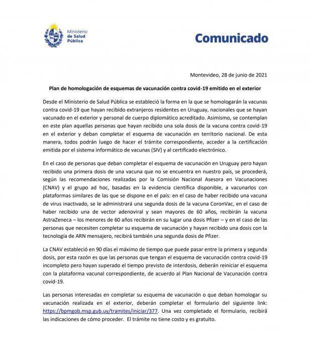 MSP establece homologación de vacunas contra el Covid-19 recibidas en el exterior