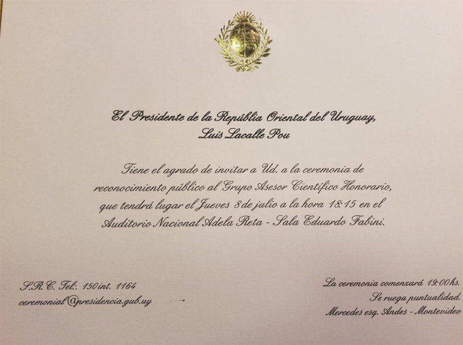 Así es la invitación al homenaje que se hará al GACH el jueves 8 en el Sodre