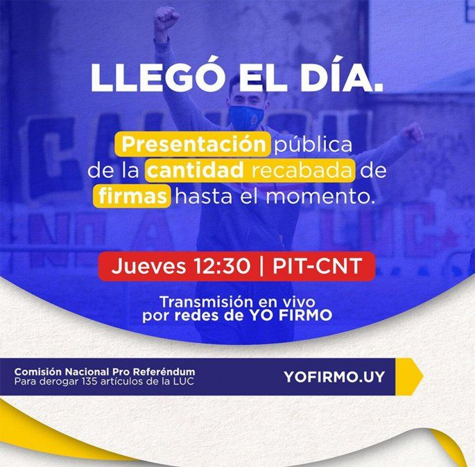 Comisión contra la LUC presentará este jueves cifra final de firmas recolectadas
