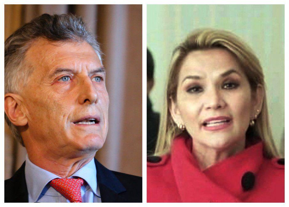 Expresidentes Mauricio Macri y Jeanine Añez.