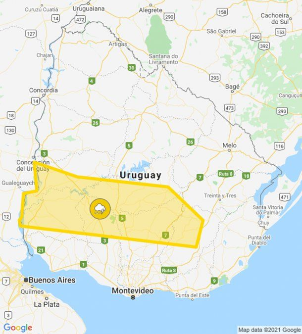 Rige alerta amarilla de Meteorología por tormentas fuertes