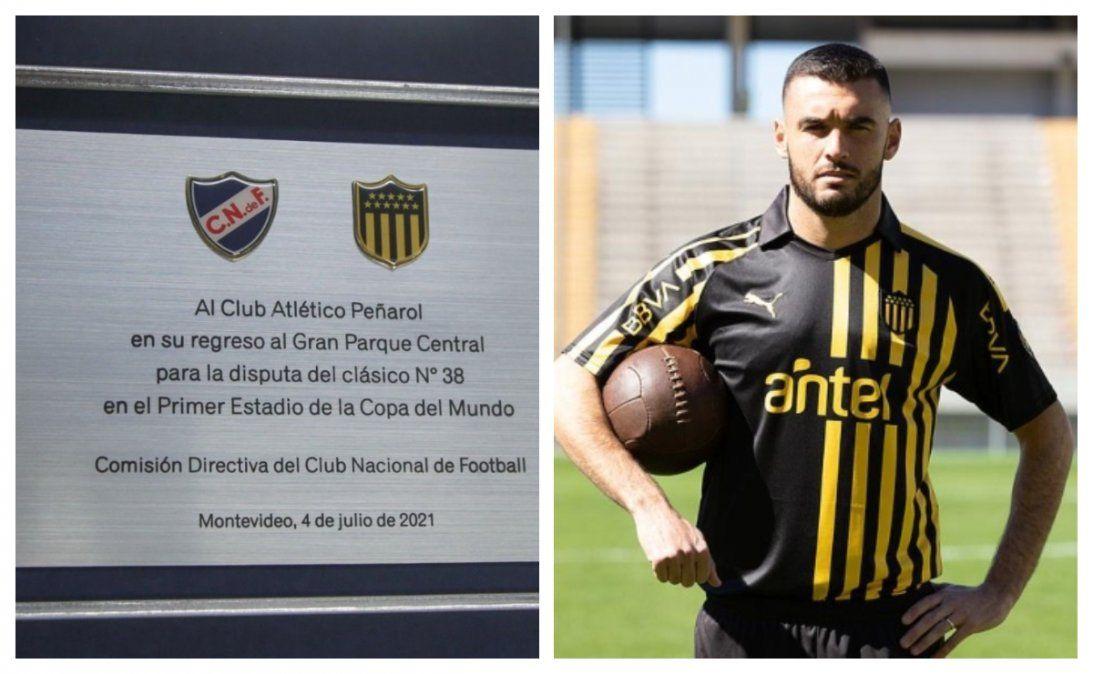 La plaqueta que será devuelta por Ruglio y Tito Formiliano probándose la camiseta que remeda la estética del CURCC