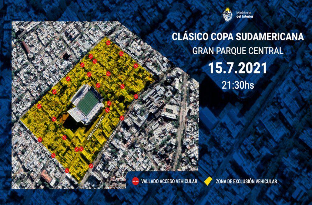 Clásico por Sudamericana con 650 policías, zona de exclusión y restricción de espacio aéreo