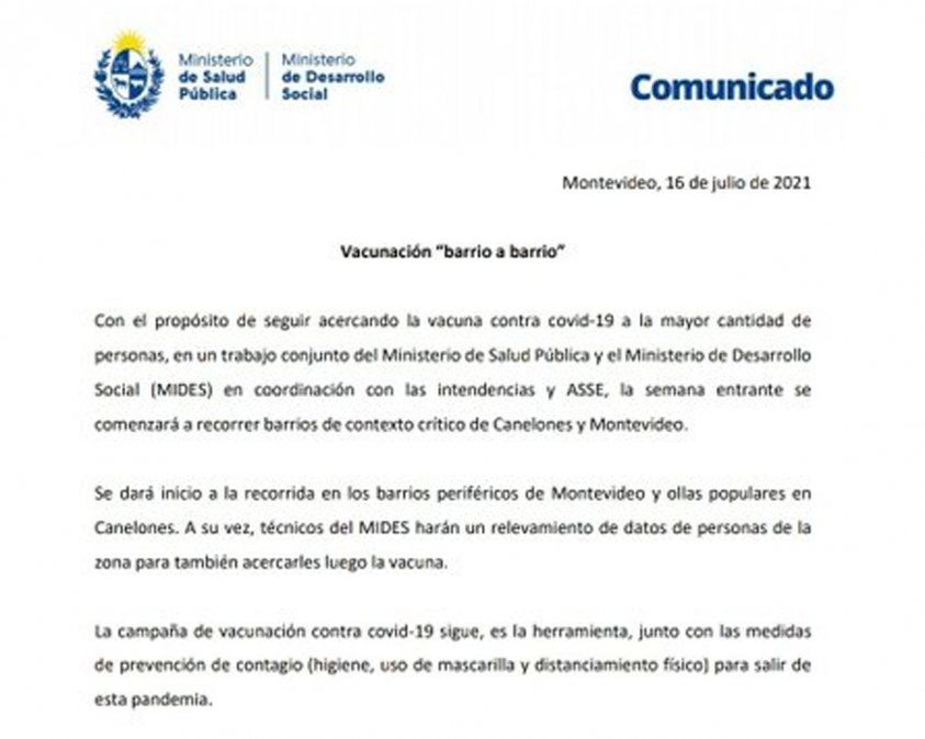 Gobierno sale en busca de no vacunados en barrios carenciados de Montevideo y Canelones