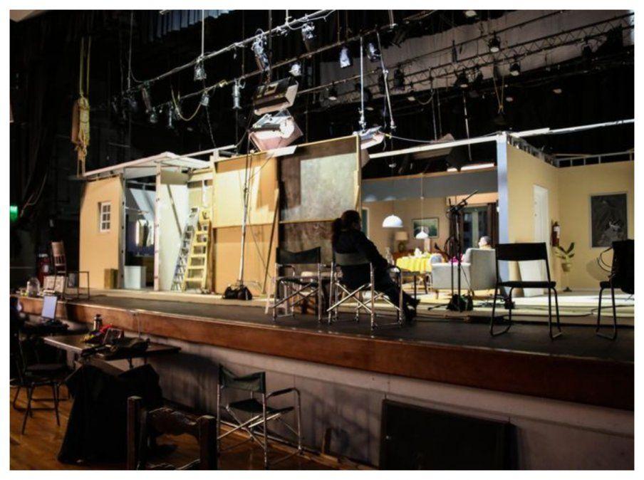 El set de filmación de la serie de TV Temporario en El Galpón