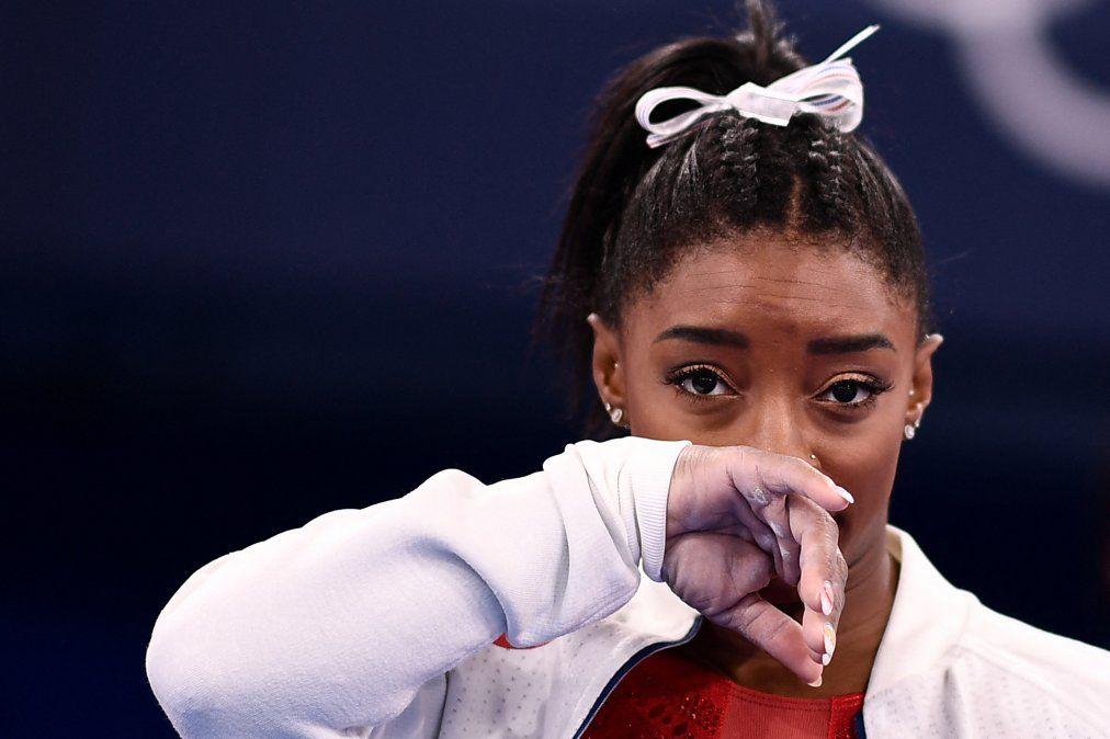 Simone Biles durantela final del equipo femenino de gimnasia artística