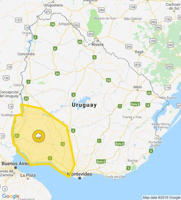 Alerta amarilla de Meteorología por tormentas fuertes para el suroeste