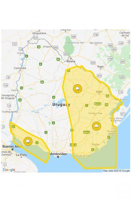 Mirá la nueva alerta meteorológica; Montevideo con tres días de lluvia