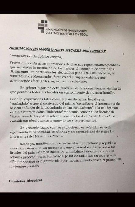 La carta pública de la Asociación de Magistrados Fiscales