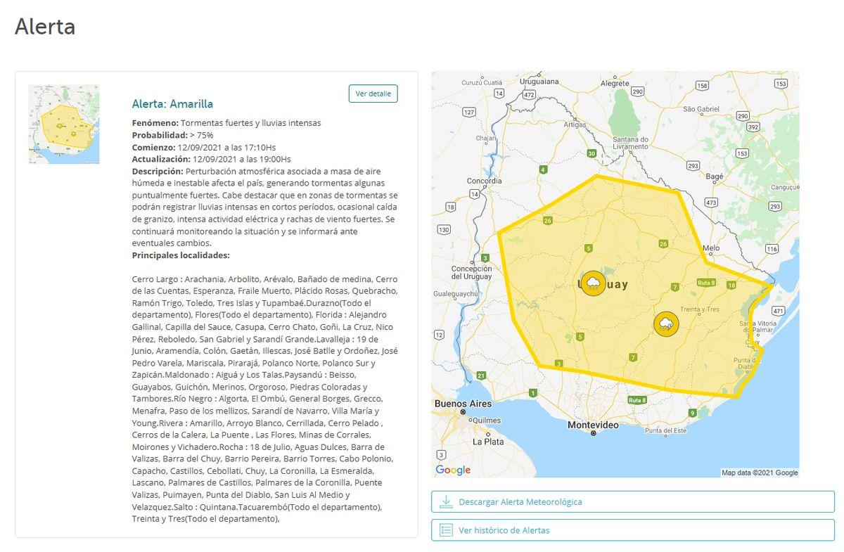 Se amplía alerta amarilla por tormentas fuertes y lluvias intensas