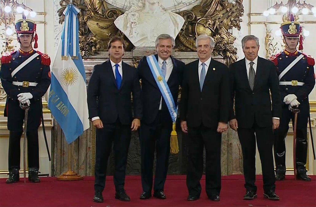 Vázquez y Lacalle Pou juntos en la asunción de Alberto Fernández en Argentina