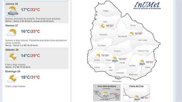 Precipitaciones aisladas y temperatura máxima de 22 grados