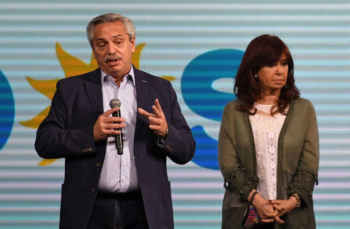 Alberto Fernández y Cristina Fernández el domingo