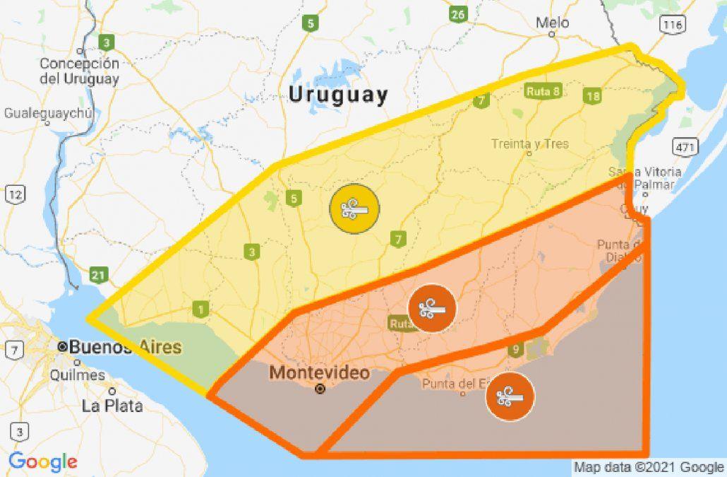 Rige alerta amarilla y naranja por vientos fuertes y persistentes