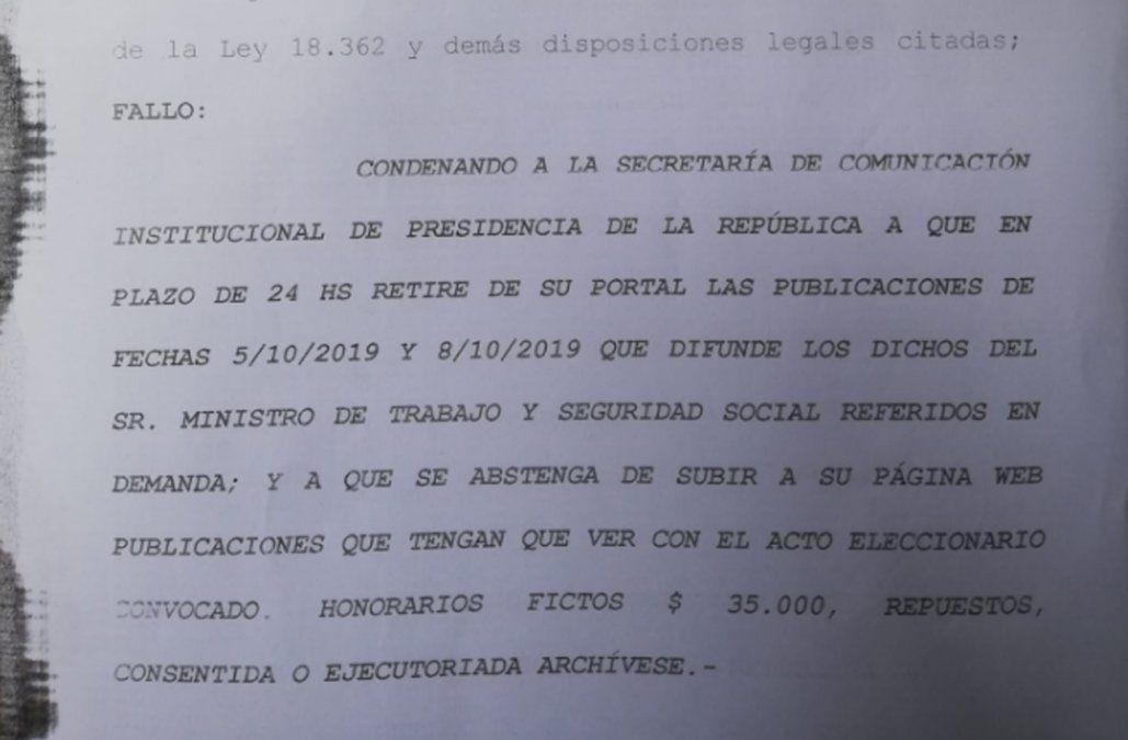Juez ordenó a Presidencia bajar notas de Murro de la web y no subir más contenido electoral