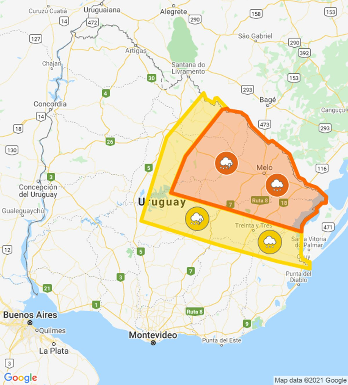 Actualizan alerta naranja por tormentas fuertes y lluvias intensas