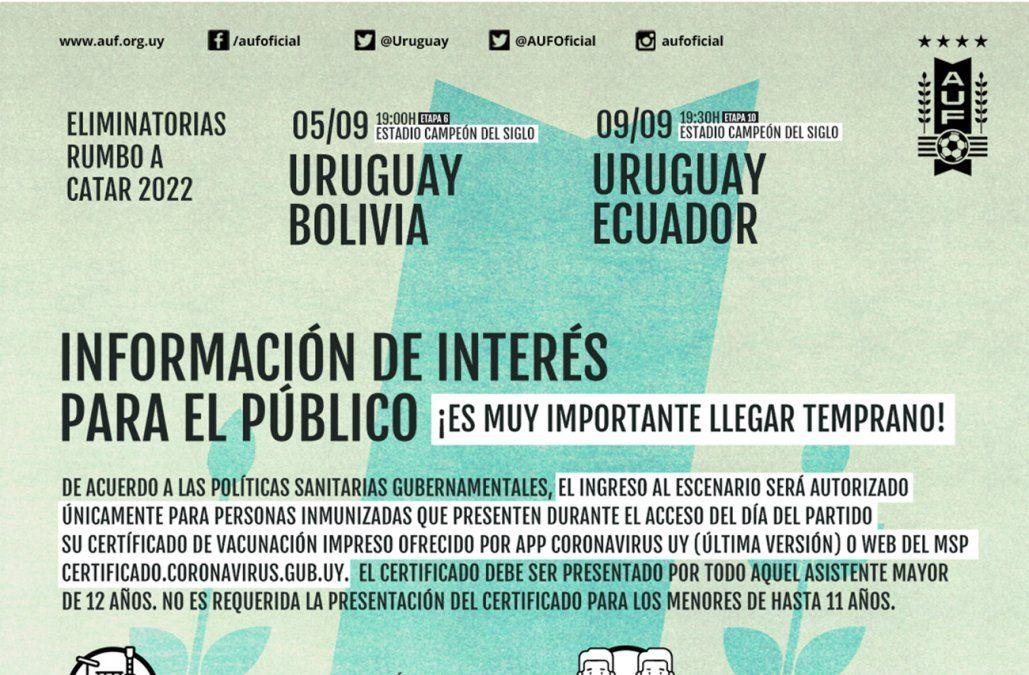 Si vas al partido Uruguay - Bolivia, todo lo que tenés que saber lo encontrás en esta nota