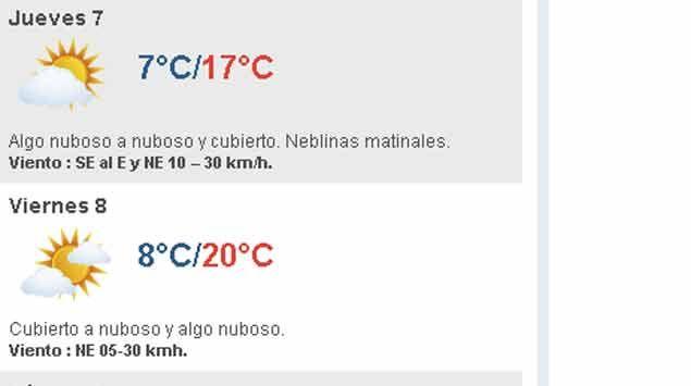 Jueves frío algo nuboso y cubierto; temperatura máxima de 17º