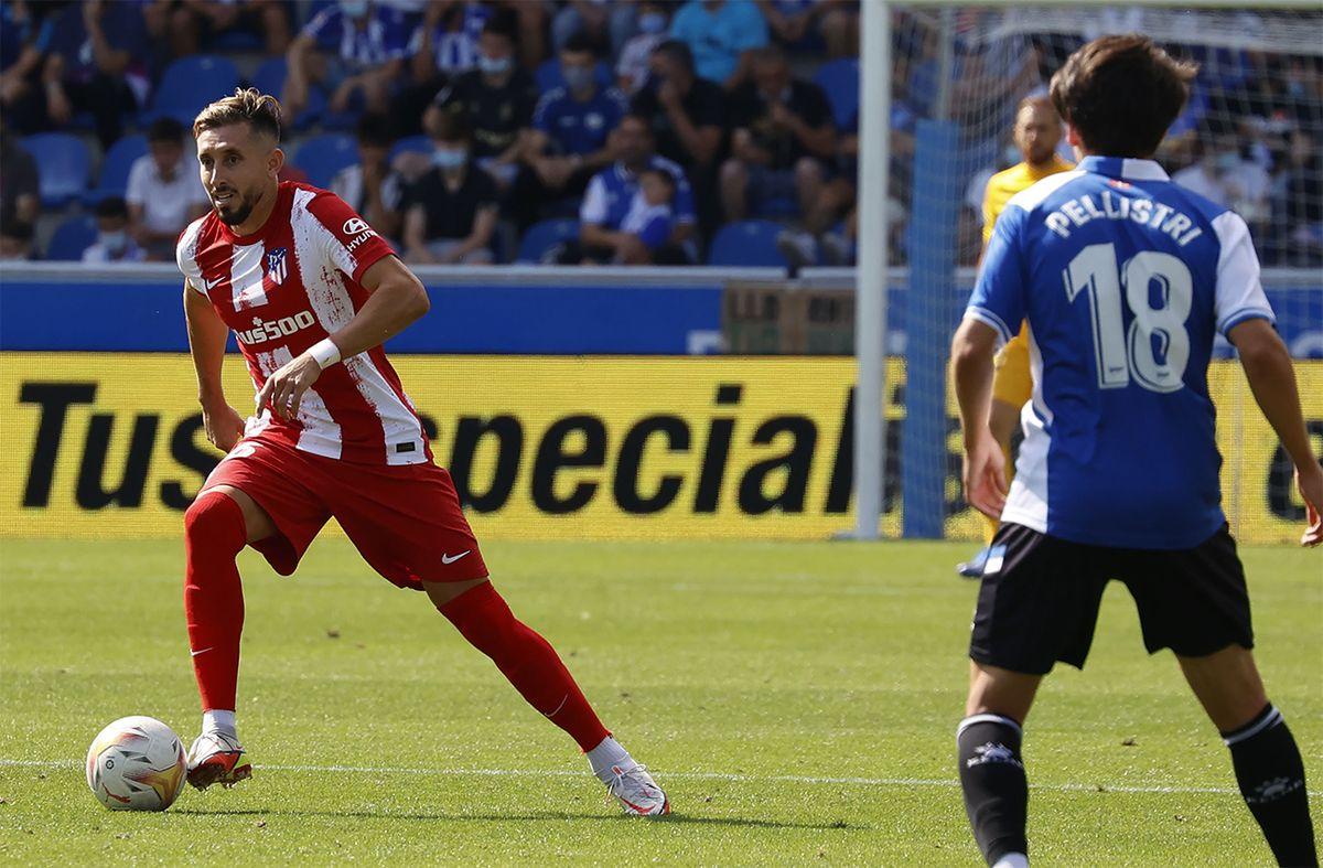 Facundo Pellistri en el partido de este sábado. Foto: Atlético Madrid en Twitter.