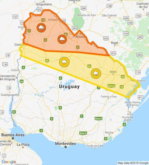 Alerta meteorológica en el Norte del país; en Montevideo el tiempo tenderá a mejorar