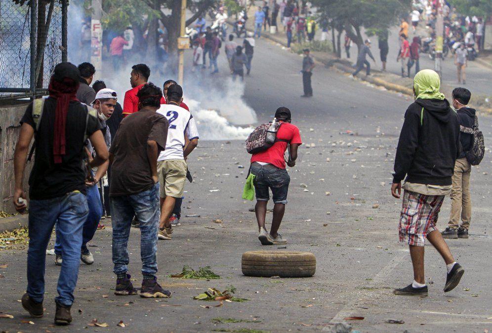 Manifestantes contra el gobierno de Ortega