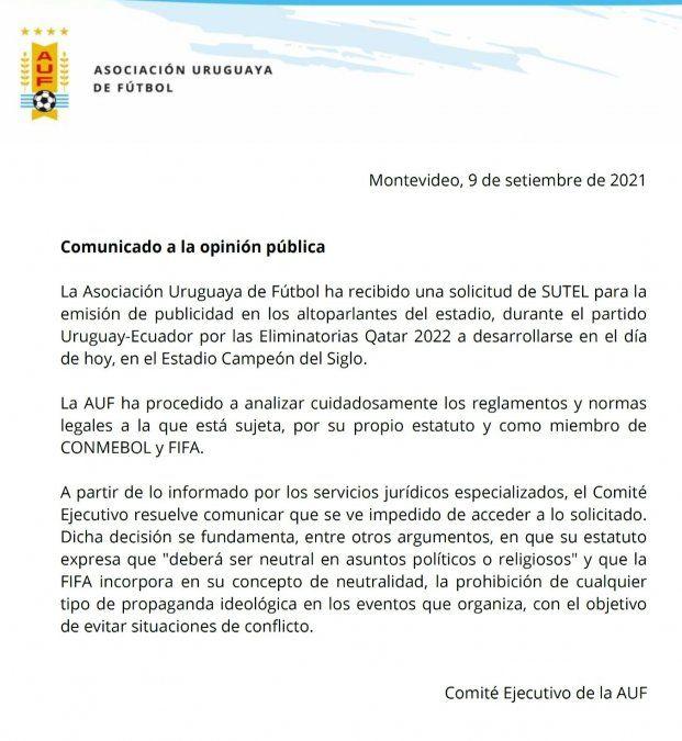 La AUF decidió no emitir publicidad del sindicato de Antel en el partido con Ecuador