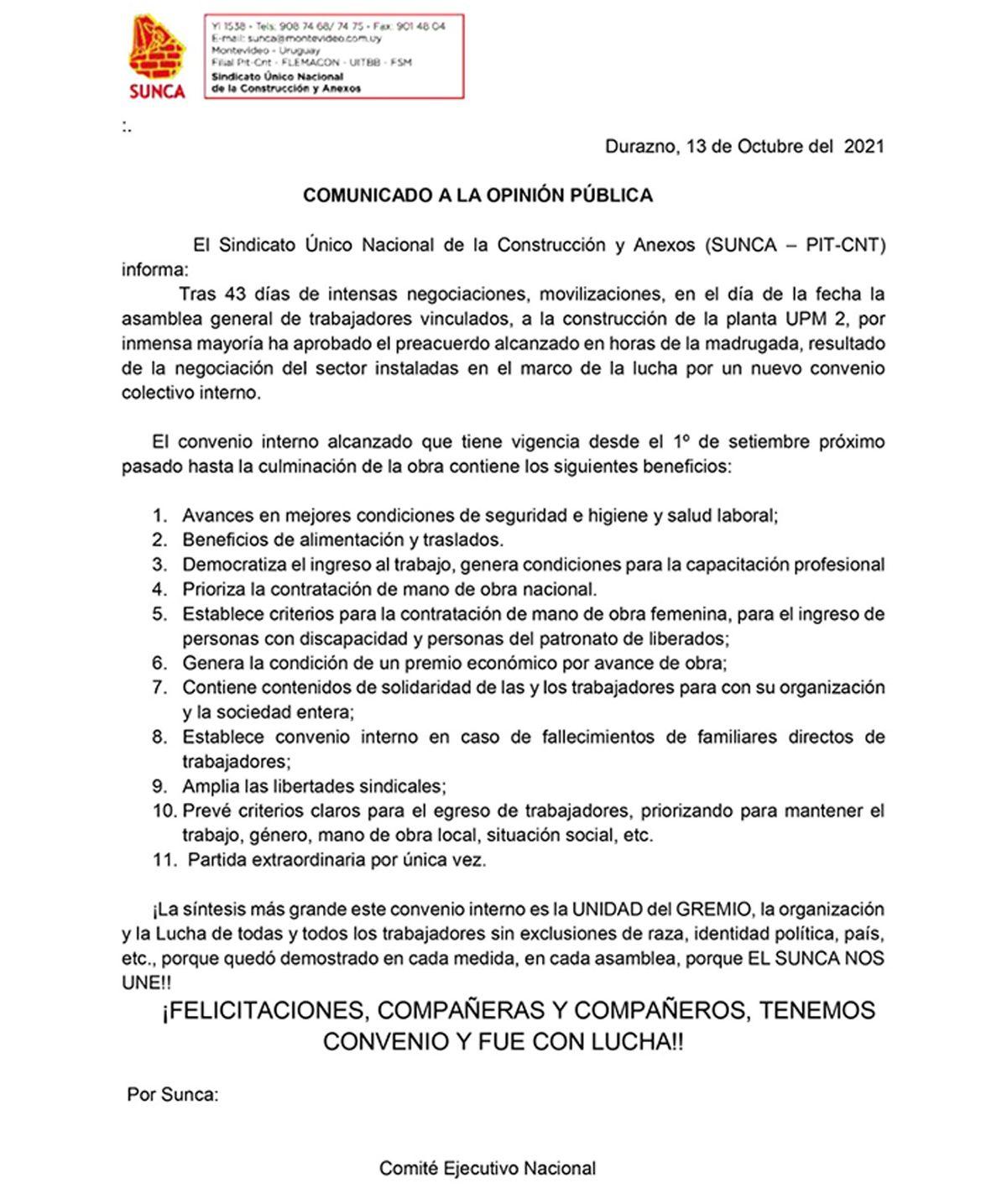 Sindicato de trabajadores aprobó acuerdo con UPM por nuevo convenio laboral