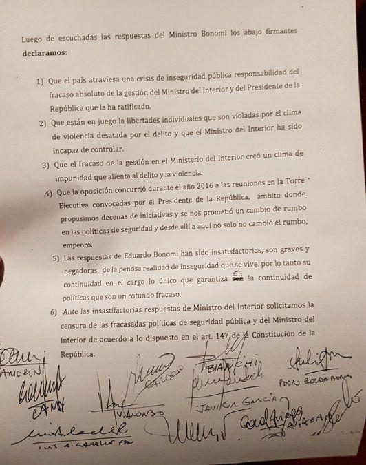 Oposición pedirá la censura del ministro Bonomi por crisis de inseguridad