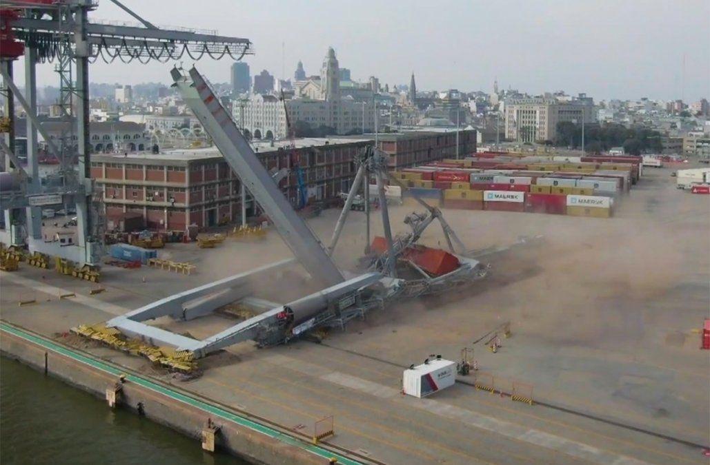Mirá cómo fue el derrumbe de una grúa de 850 toneladas en el puerto de Montevideo
