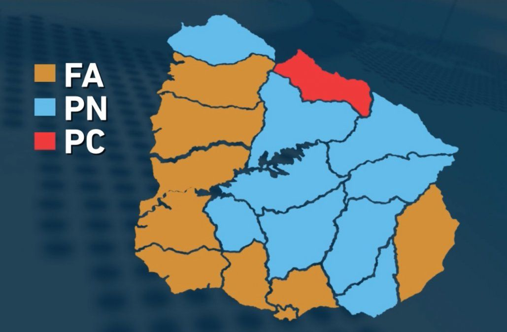El nuevo mapa de Uruguay tras las elecciones nacionales del domingo