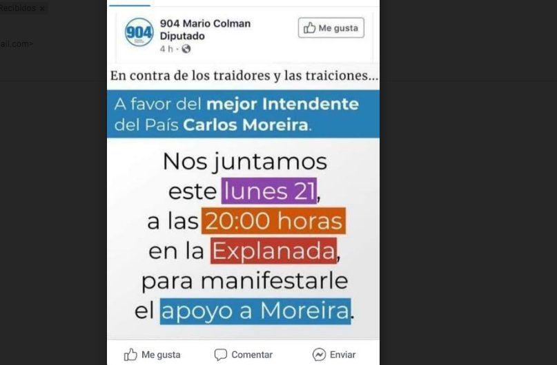 Moreira fue citado a Fiscalía por los audios y sus seguidores harán un acto en su apoyo