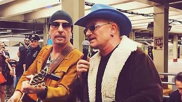 Video: U2 sorprendió con un recital en el Metro de Nueva York